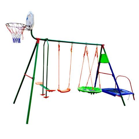 Детский комплекс с батутом и баскетболом DFC MTB-01 (два короба)