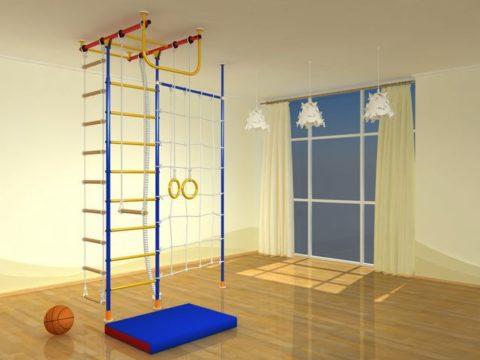 Детский спортивный комплекс Самсон-1.2 Д Т с сеткой + стойка дерево-арт 00000001355 Самсон