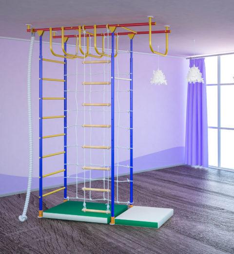 Детский спортивный комплекс Самсон-4.3 П с рукоходом + сетка-арт 00000000658 Самсон