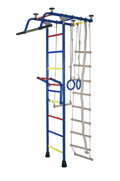 Спортивный комплекс Крепыш плюс Т с навесным турником ПВХ синий-арт SG000000787 Крепыш
