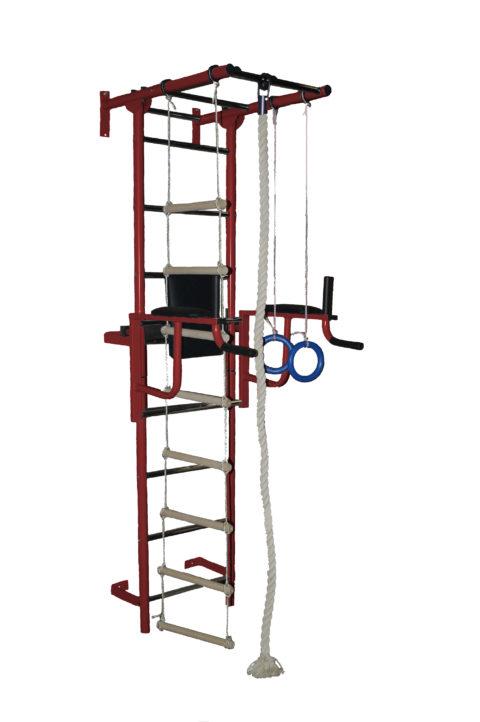 Спортивный комплекс Крепыш плюс пристенный с брусьями бордовый-арт SG000001135 Крепыш