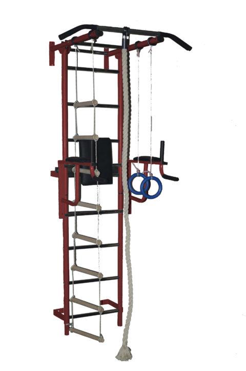 Спортивный комплекс Крепыш плюс пристенный с брусьями - 1 бордовый-арт SG000001136 Крепыш