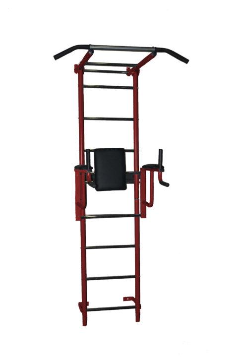 Детский спортивный комплекс Крепыш плюс пристенный с брусьями - 2 бордовый-арт SG000001138 Крепыш
