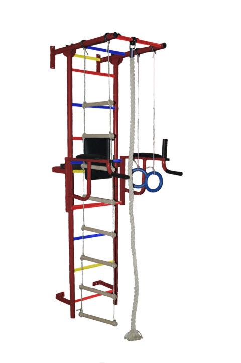 Спортивный комплекс Крепыш плюс пристенный с брусьями ПВХ бордовый-арт SG000001141 Крепыш