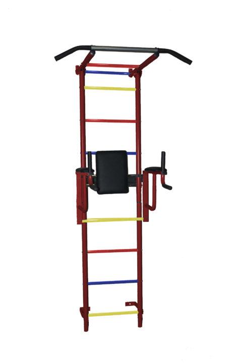 Спортивный комплекс Крепыш плюс пристенный с брусьями - 2 ПВХ бордовый-арт SG000001144 Крепыш