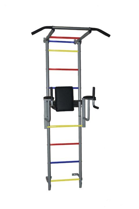 Детский спортивный комплекс Крепыш плюс пристенный с брусьями - 2 ПВХ серый-арт SG000001145 Крепыш