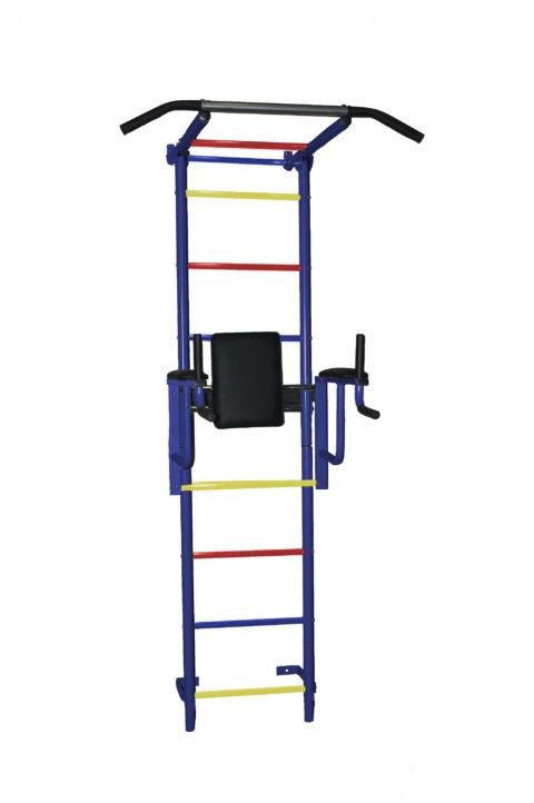 Спортивный комплекс Крепыш плюс пристенный с брусьями - 2 ПВХ синий-арт SG000002451 Крепыш