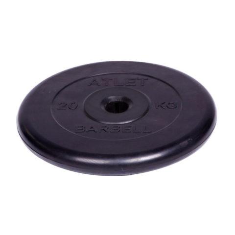 Диск обрезиненный Barbell Atlet d 31 мм чёрный 20 кг-арт SG000001516 Barbell