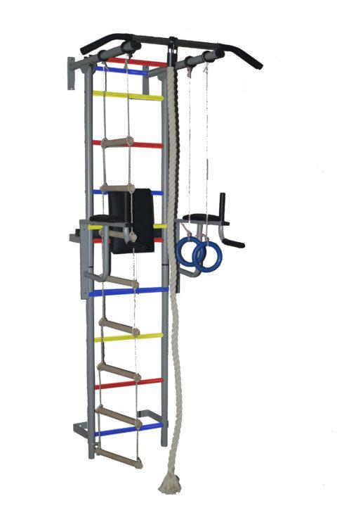 Спортивный комплекс Крепыш плюс пристенный с брусьями - 1 ПВХ серый-арт SG000001143 Крепыш