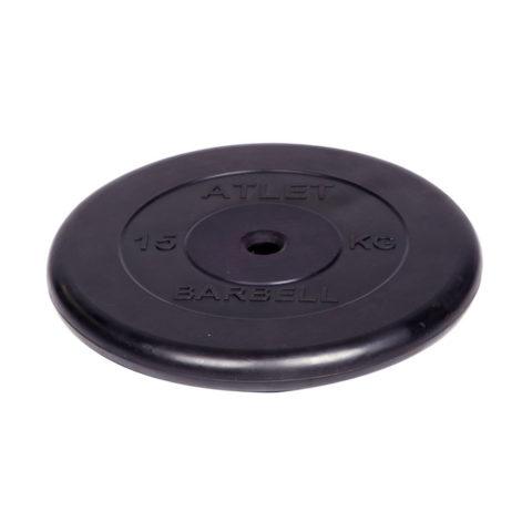 Диск обрезиненный Barbell Atlet d 26 мм чёрный 15 кг-арт 00000002666 Barbell