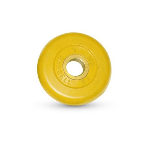 Диск обрезиненный Barbell d 31 мм цветной 1 кг-арт 00000000419 Barbell