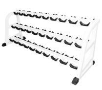 Стойка для хранения профессиональных гантелей Barbell МВ 1.19 на 15 пар трехъярусная белый-арт SG000000586 Barbell
