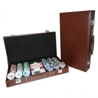 Набор для покера Leather Brown на 300 фишек Lbrown300