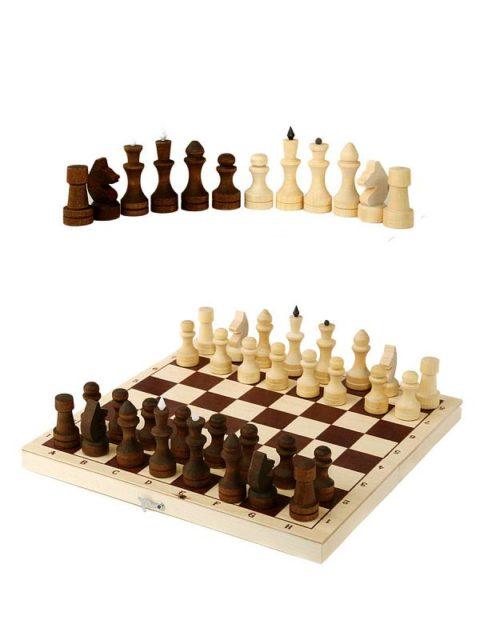 Шахматы обиходные парафинированные в комплекте с доской (без подклейки) (Орлов) Орловская ладья