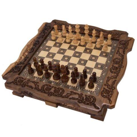 Шахматы резные в ларце 40 с ящиками ma403