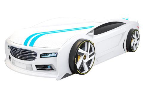 Ауди Манго Белая - кровать-машинка. Серия Манго с подъемным матрасом производитель КарлСон 24