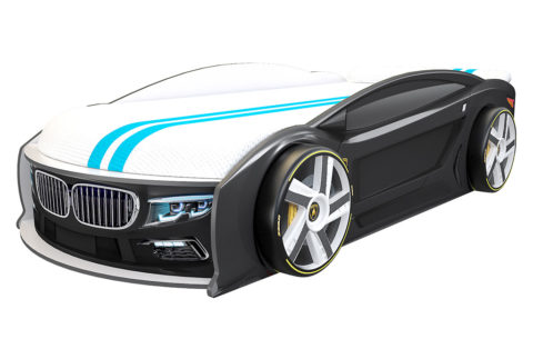 БМВ Манго Черная - кровать-машинка. Серия Манго с подъемным матрасом производитель КарлСон 24
