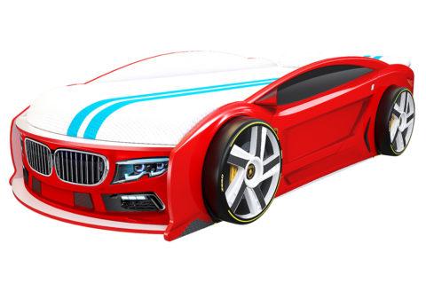 БМВ Манго Красная - кровать-машинка. Серия Манго с подъемным матрасом производитель КарлСон 24