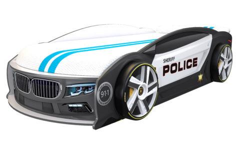 БМВ Манго Полиция - кровать-машинка. Серия Манго с подъемным матрасом производитель КарлСон 24