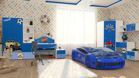 Детская Junior (Blue) - кровать-машинка. Детские комнаты производитель КарлСон 24