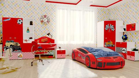 Детская Junior (Red) - кровать-машинка. Детские комнаты производитель КарлСон 24