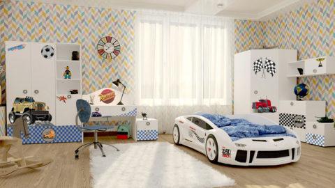 Детская Junior (White) - кровать-машинка. Детские комнаты производитель КарлСон 24