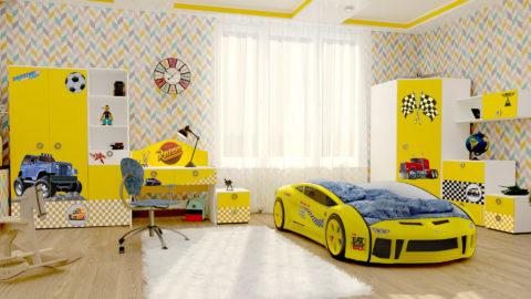 Детская Junior (Yellow) - кровать-машинка. Детские комнаты производитель КарлСон 24