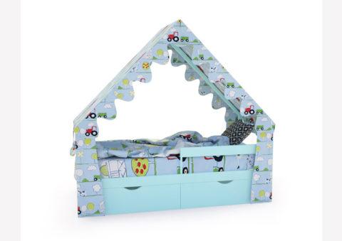 "Кровать-домик ""SCANDI"" бирюзовый - кровать-машинка. Кровати-домики ""SCANDI"" производитель КарлСон 24"