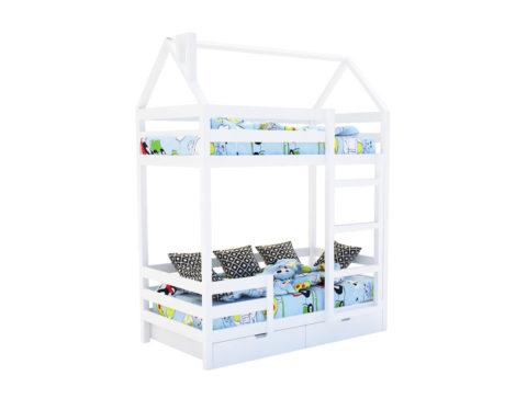 """Кровать-домик """"SCANDI"""" двухъярусная Белый - кровать-машинка. Кровати-домики """"SCANDI"""" Двухъярусная производитель КарлСон 24"""