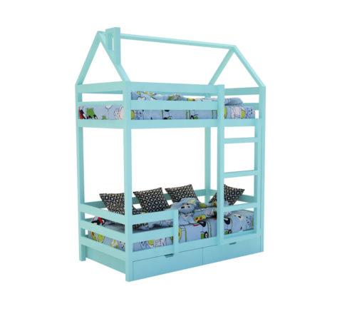"""Кровать-домик """"SCANDI"""" Двухъярусная Бирюзовый - кровать-машинка. Кровати-домики """"SCANDI"""" Двухъярусная производитель КарлСон 24"""