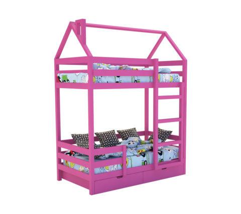 """Кровать-домик """"SCANDI"""" Двухъярусная Розовый - кровать-машинка. Кровати-домики """"SCANDI"""" Двухъярусная производитель КарлСон 24"""