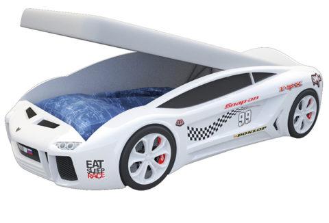 Ламба Next Белая 2 с подъемным механизмом - кровать-машинка. Серия Ламба Next с подъемным механизмом производитель КарлСон 24