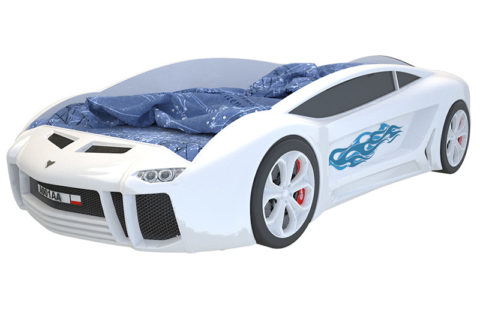 Ламба Next Белая - кровать-машинка. Серия Ламба Next производитель КарлСон 24
