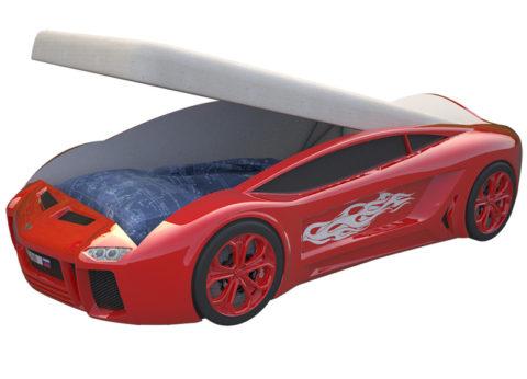 Ламба Next Красная c подъемным механизмом - кровать-машинка. Серия Ламба Next с подъемным механизмом производитель КарлСон 24