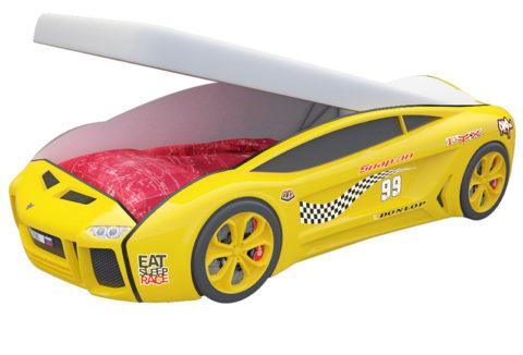 Ламба Next Желтая 2 с подъемным механизмом - кровать-машинка. Серия Ламба Next с подъемным механизмом производитель КарлСон 24