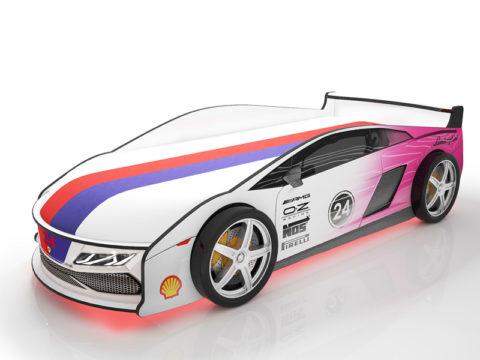 Ламба Розовая - кровать-машинка. Серия Ламба с подъемным матрасом производитель КарлСон 24