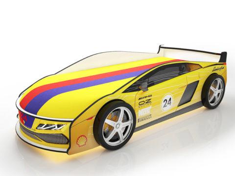 Ламба Желтая - кровать-машинка. Серия Ламба с подъемным матрасом производитель КарлСон 24
