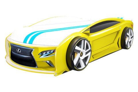 Лексус Манго Желтый - кровать-машинка. Серия Манго с подъемным матрасом производитель КарлСон 24