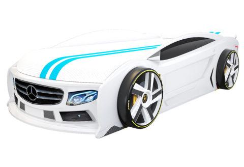 Мерседес Манго Белый - кровать-машинка. Серия Манго с подъемным матрасом производитель КарлСон 24