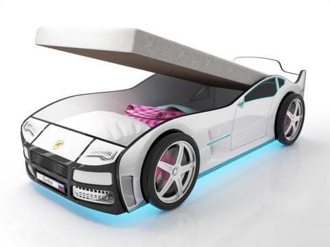 Турбо белая с подъемным матрасом - кровать-машинка. Серия Турбо с подъемным механизмом производитель КарлСон 24