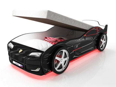 Турбо черная с подъемным матрасом - кровать-машинка. Серия Турбо с подъемным механизмом производитель КарлСон 24