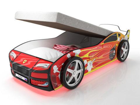 Турбо Красная 2 с подъемным матрасом - кровать-машинка. Серия Турбо с подъемным механизмом производитель КарлСон 24