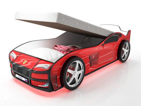 Турбо Красная с подъемным матрасом - кровать-машинка. Серия Турбо с подъемным механизмом производитель КарлСон 24