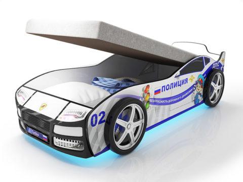 Турбо полиция с подъемным матрасом - кровать-машинка. Серия Турбо с подъемным механизмом производитель КарлСон 24