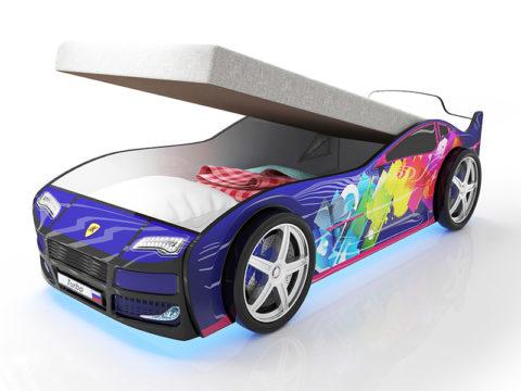 Турбо Синяя 2 с подъемным матрасом - кровать-машинка. Серия Турбо с подъемным механизмом производитель КарлСон 24