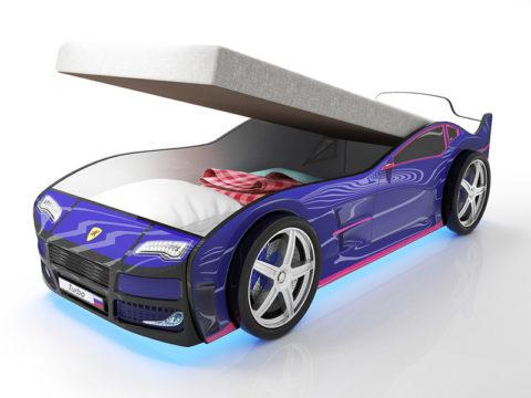 Турбо синяя с подъемным матрасом - кровать-машинка. Серия Турбо с подъемным механизмом производитель КарлСон 24