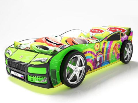 Турбо Зеленая - кровать-машинка. Серия Турбо производитель КарлСон 24