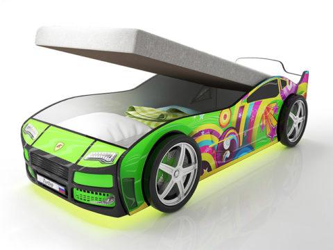 Турбо зеленая с подъемным матрасом - кровать-машинка. Серия Турбо с подъемным механизмом производитель КарлСон 24