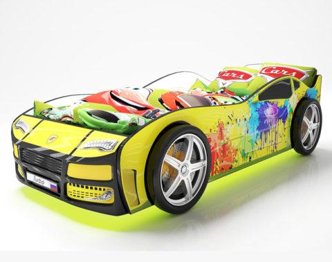 Турбо Желтая 2 - кровать-машинка. Серия Турбо производитель КарлСон 24