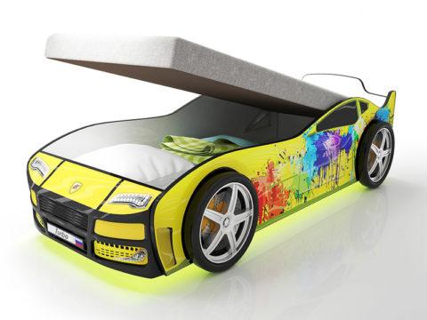 Турбо Желтая 2 с подъемным матрасом - кровать-машинка. Серия Турбо с подъемным механизмом производитель КарлСон 24